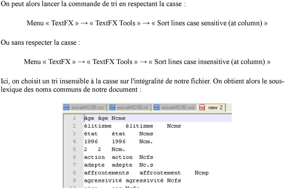 Tools» «Sort lines case insensitive (at column)» Ici, on choisit un tri insensible à la casse