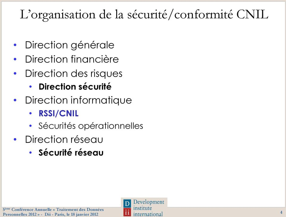 risques Direction sécurité Direction informatique