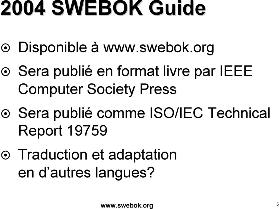 Society Press Sera publié comme ISO/IEC Technical