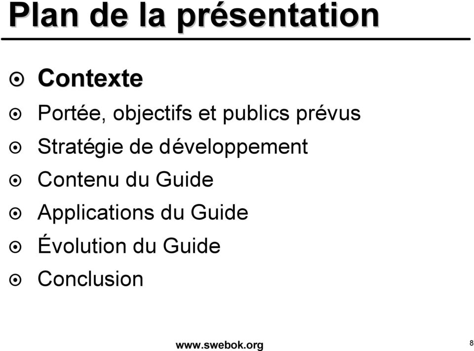 développement Contenu du Guide Applications