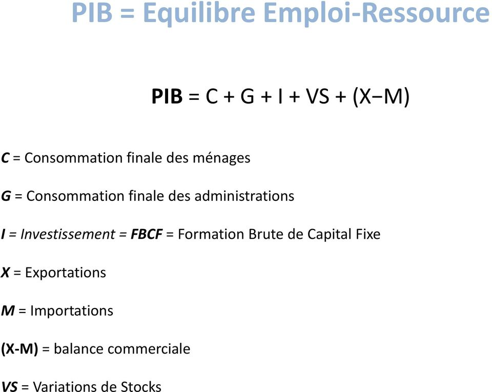 administrations I = Investissement = FBCF = Formation Brute de Capital