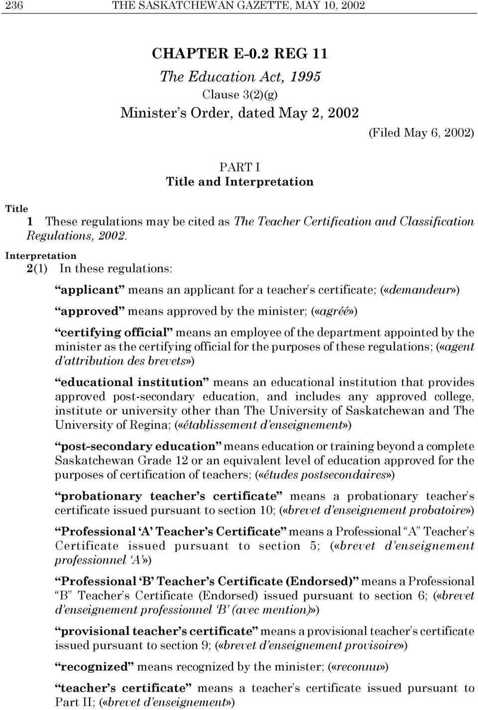 Certification and Classification Regulations, 2002.