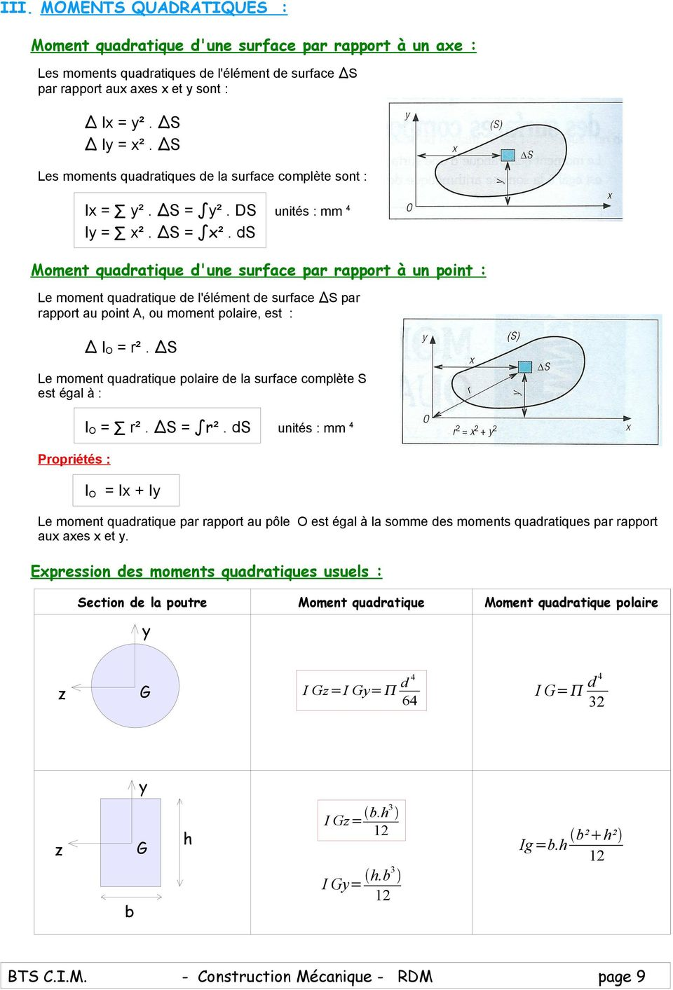 ds unités : mm 4 Moment quadratique d'une surface par rapport à un point : Le moment quadratique de l'élément de surface S par rapport au point A, ou moment polaire, est : IO r².