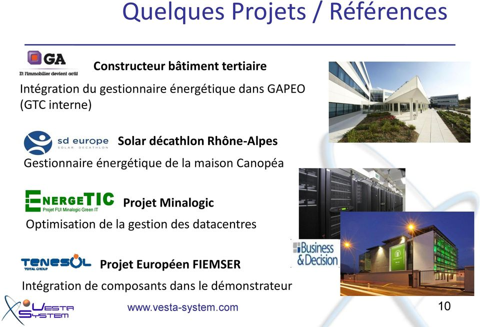 la maison Canopéa N E R GETIC Projet FUI Minalogic Green IT Projet Minalogic Optimisation de