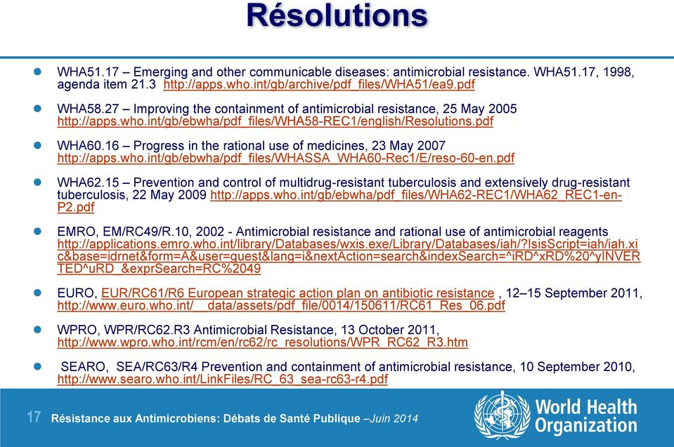 16 Progress in the rational use of medicines, 23 May 2007 http://apps.who.int/gb/ebwha/pdf_files/whassa_wha60-rec1/e/reso-60-en.pdf WHA62.