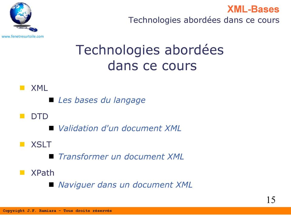DTD Validation d'un document XML XSLT Transformer
