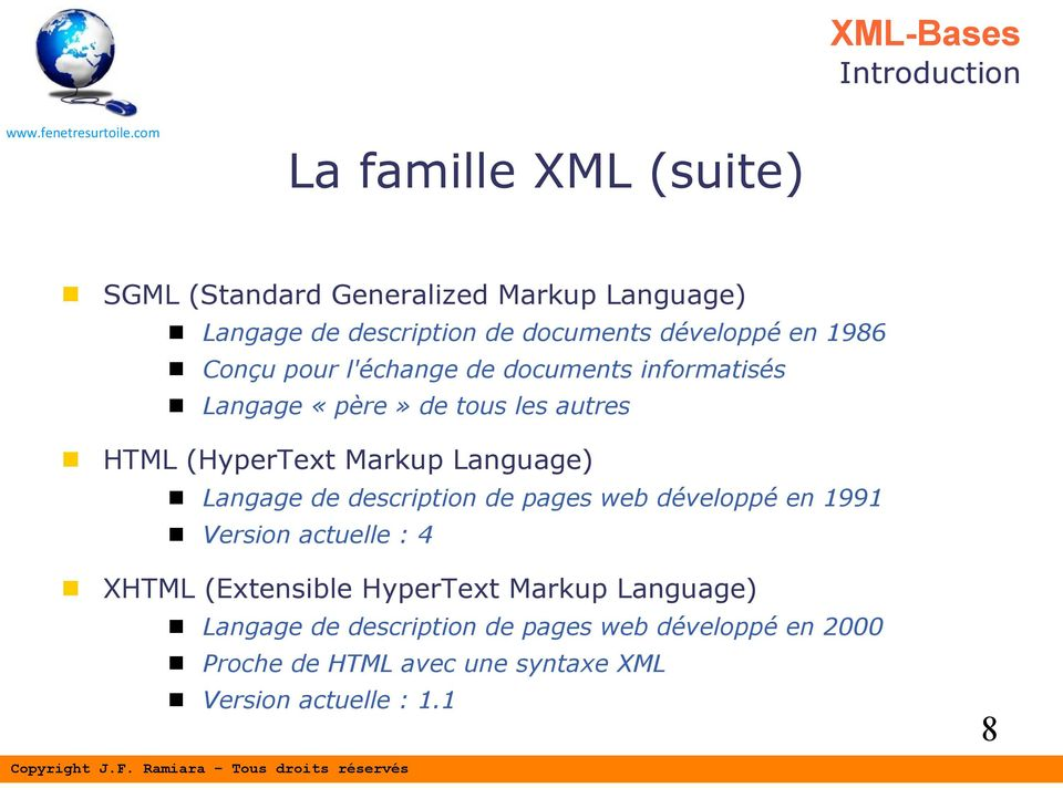 Markup Language) Langage de description de pages web développé en 1991 Version actuelle : 4 XHTML (Extensible HyperText