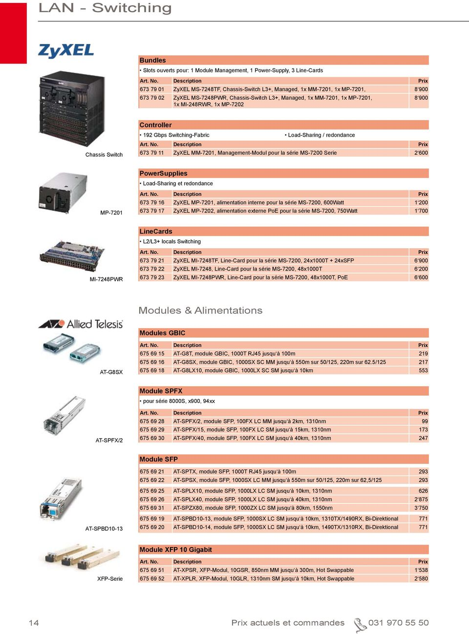 Management-Modul pour la série MS-7200 Serie 2 600 PowerSupplies Load-Sharing et redondance MP-7201 673 79 16 ZyXEL MP-7201, alimentation interne pour la série MS-7200, 600Watt 1 200 673 79 17 ZyXEL