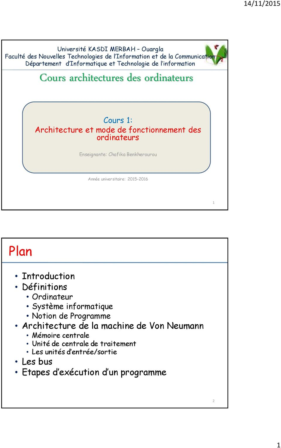 Cours architectures des ordinateurs pdf for Definition architecture informatique