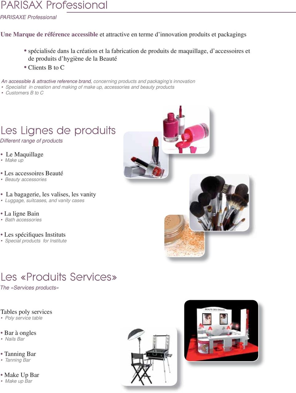 making of make up, accessories and beauty products Customers B to C Les Lignes de produits Different range of products Le Maquillage Make up Les accessoires Beauté Beauty accessories La bagagerie,