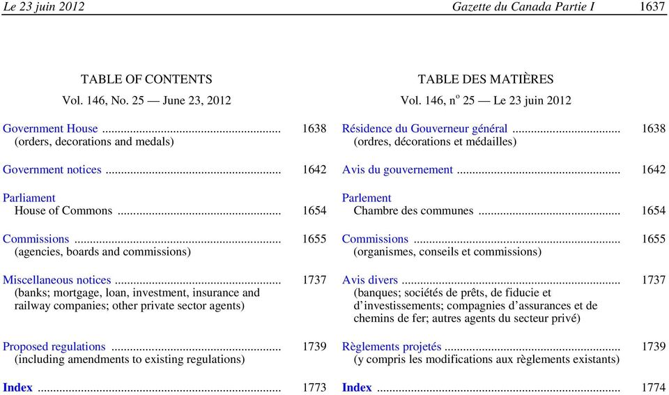 .. 1654 Parlement Chambre des communes... 1654 Commissions... (agencies, boards and commissions) Miscellaneous notices.