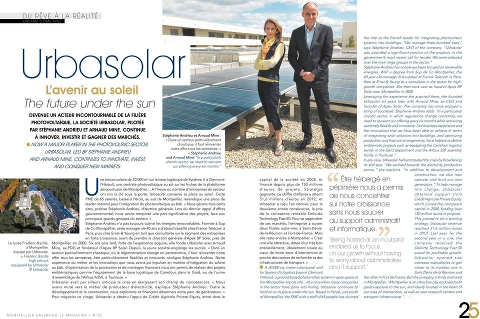 Now a major player in the photovoltaic sector, Urbasolar, led by Stéphanie Andrieu and Arnaud Mine, continues to innovate, invest, and conquer new markets.