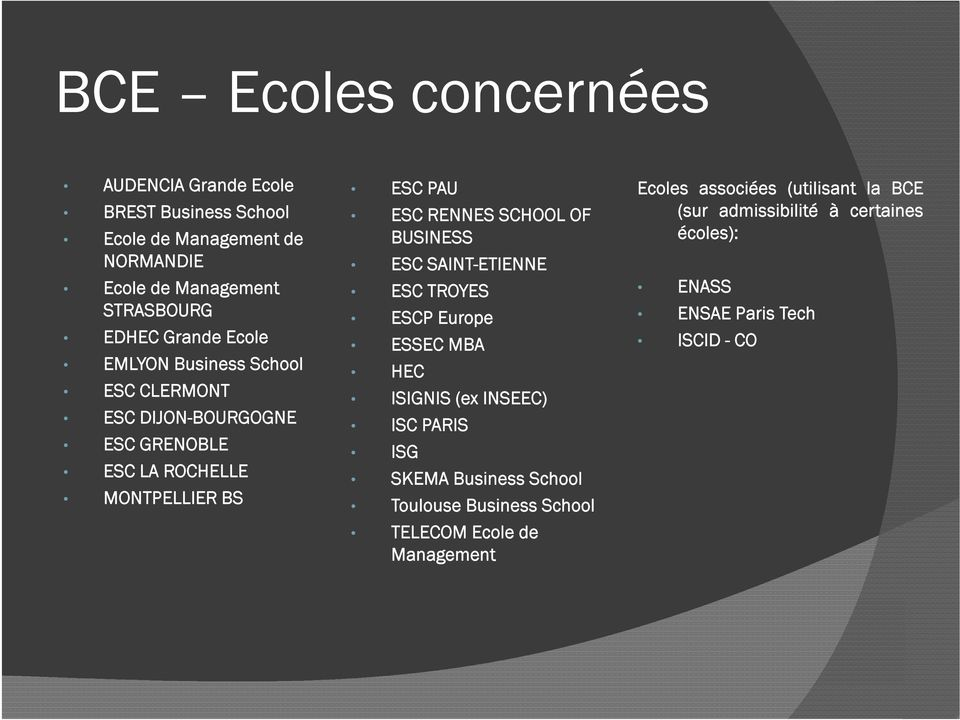 OF BUSINESS ESC SAINT-ETIENNE ESC TROYES ESCP Europe ESSEC MBA HEC ISIGNIS (ex INSEEC) ISC PARIS ISG SKEMA Business School Toulouse