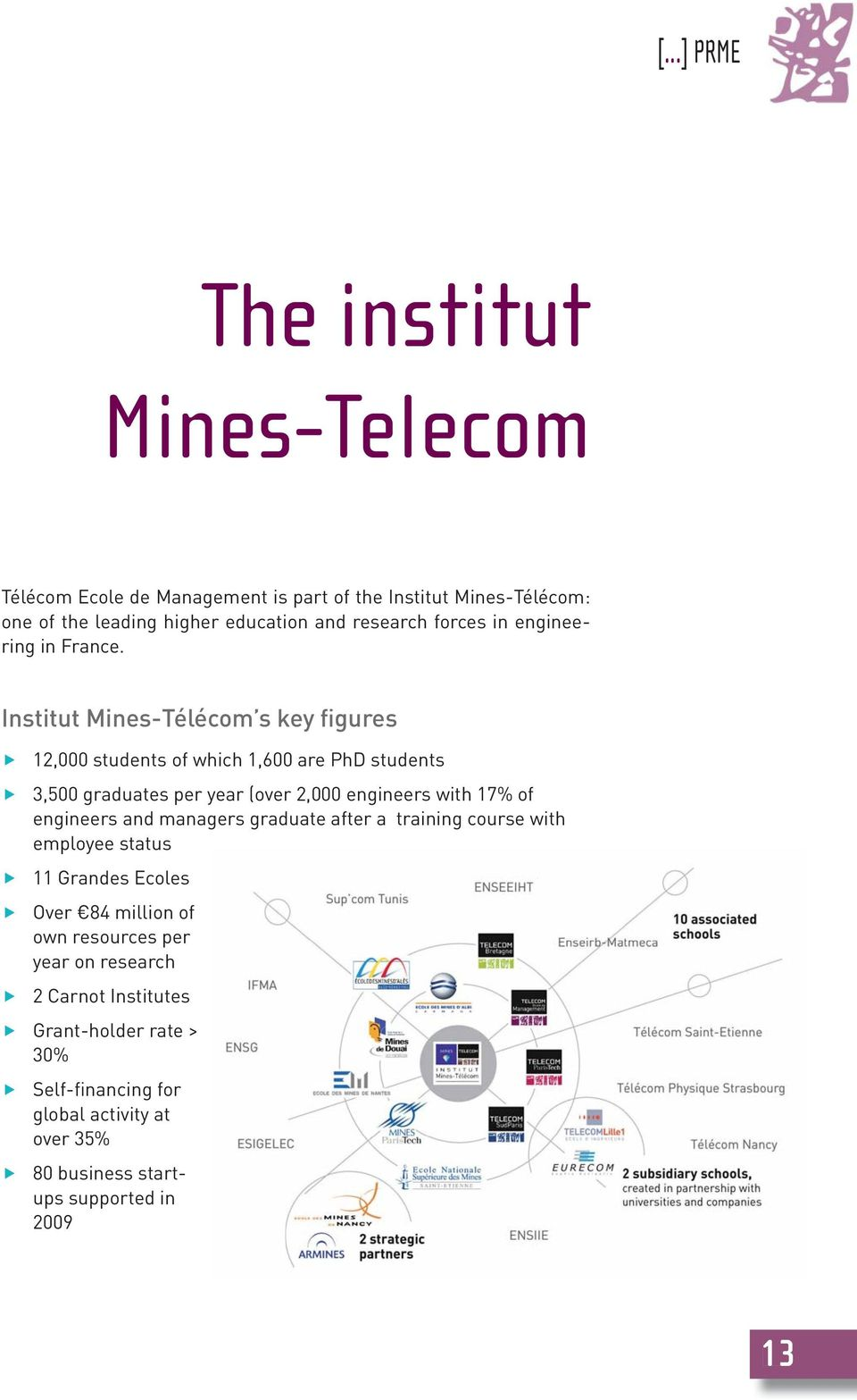 Institut Mines-Télécom s key figures 12,000 students of which 1,600 are PhD students 3,500 graduates per year (over 2,000 engineers with 17% of