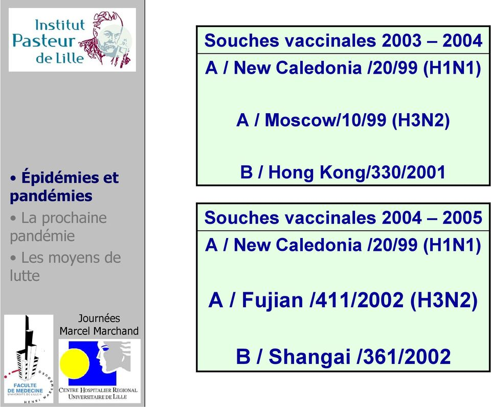 Kong/330/2001 Souches vaccinales 2004 2005 A / New