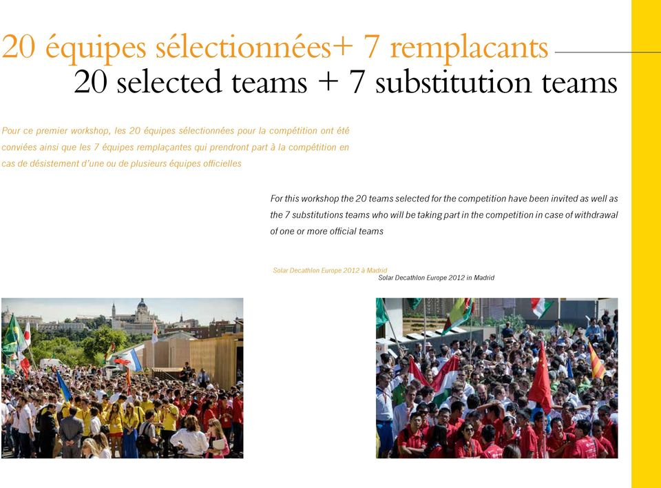 équipes officielles For this workshop the 20 teams selected for the competition have been invited as well as the 7 substitutions teams who will be