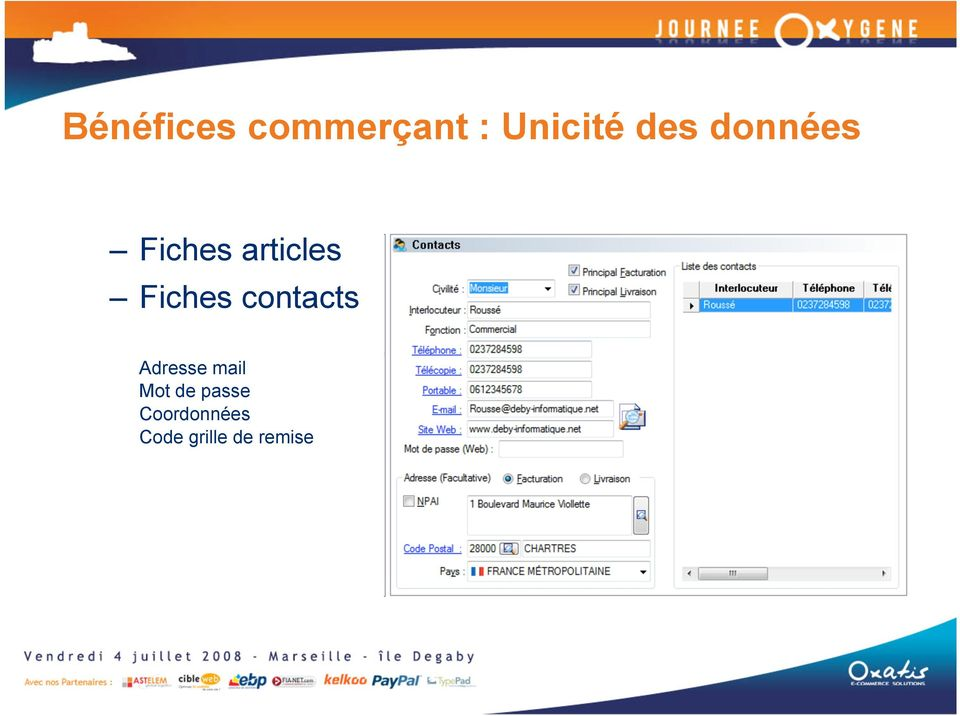 Fiches contacts Adresse mail Mot