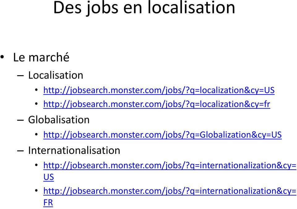 q=localization&cy=fr Globalisation http://jobsearch.monster.com/jobs/?