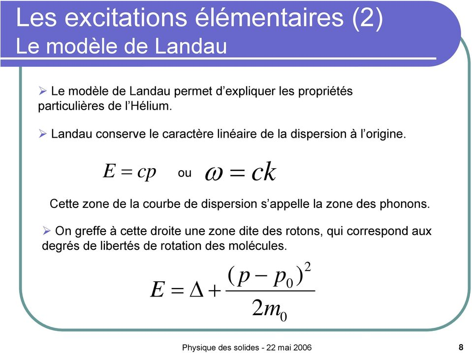 E = cp ω = ck ou Cette zone de la courbe de dispersion s appelle la zone des phonons.