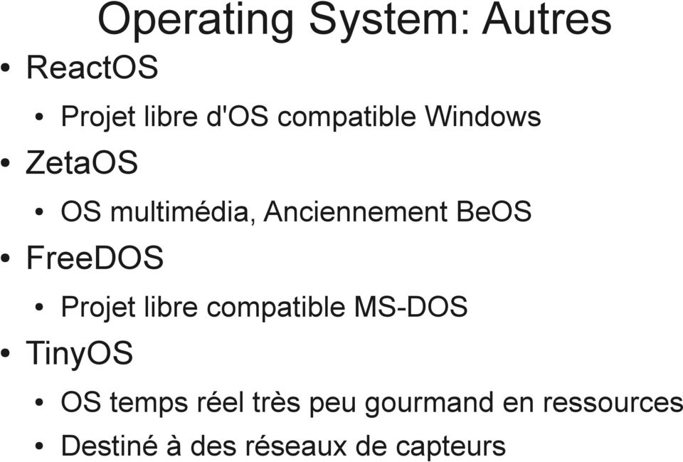 FreeDOS Projet libre compatible MS-DOS TinyOS OS temps