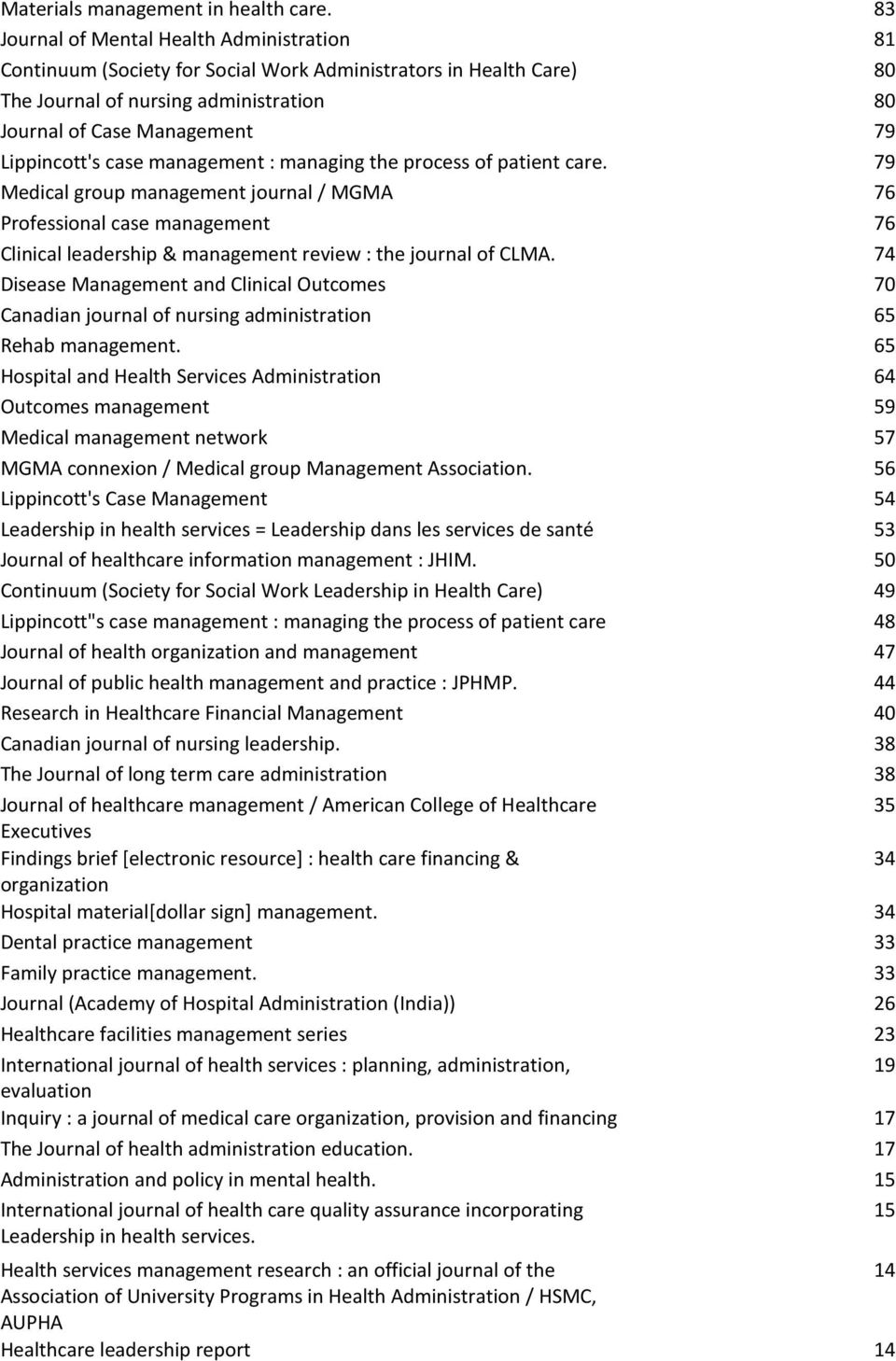 management : managing the process of patient care. 79 Medical group management journal / MGMA 76 Professional case management 76 Clinical leadership & management review : the journal of CLMA.