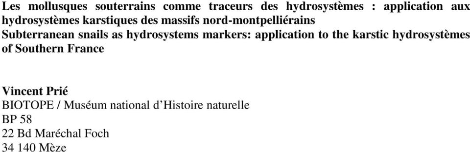 hydrosystems markers: application to the karstic hydrosystèmes of Southern France