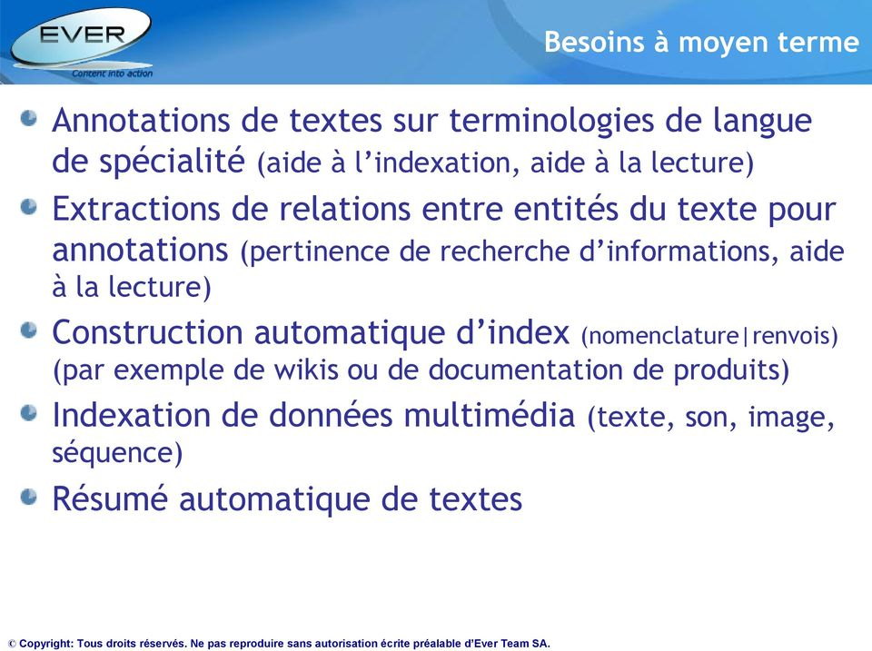 informations, aide à la lecture) Construction automatique d index (nomenclature renvois) (par exemple de wikis ou