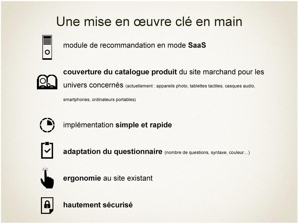 tactiles, casques audio, smartphones, ordinateurs portables) implémentation simple et rapide