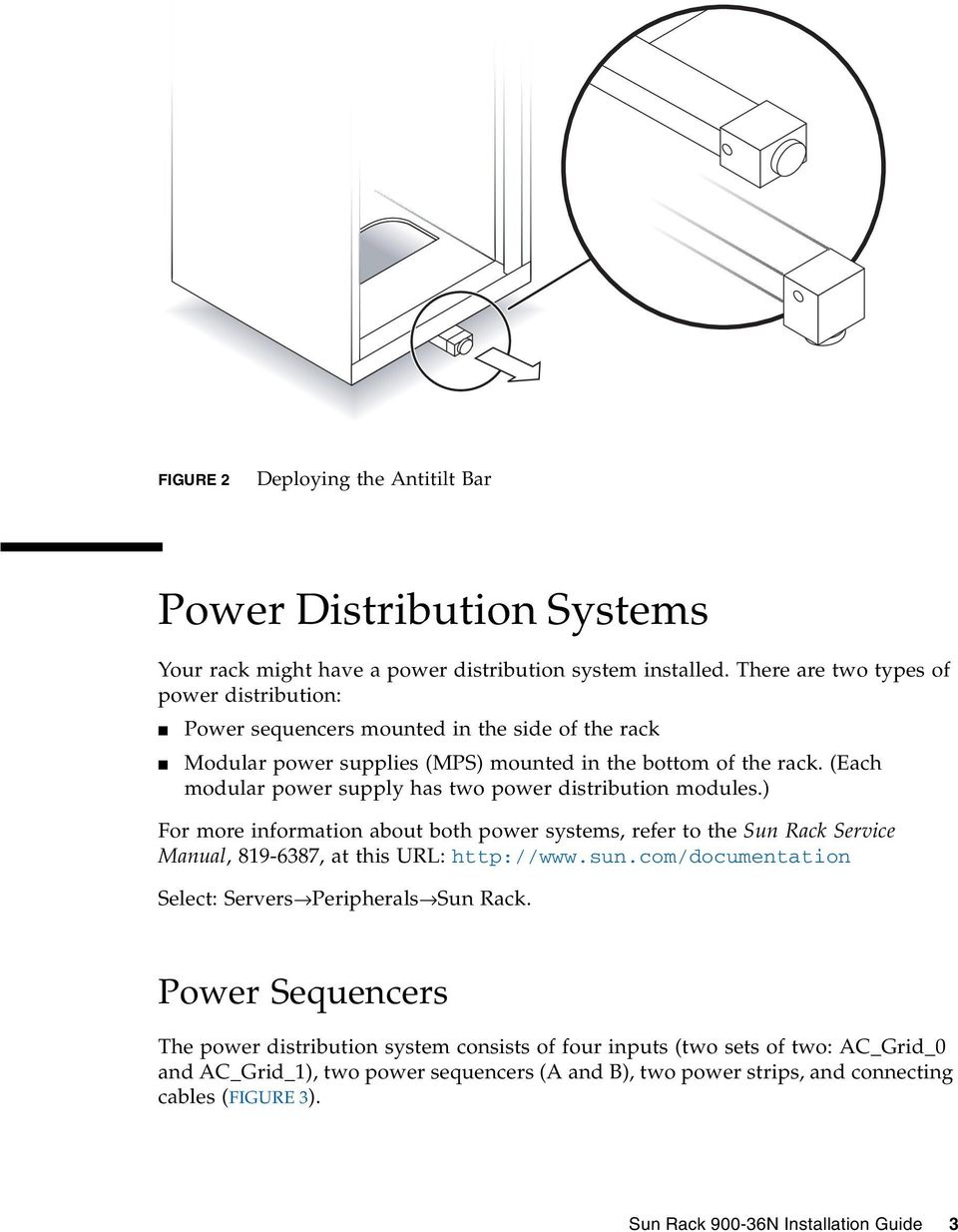 (Each modular power supply has two power distribution modules.) For more information about both power systems, refer to the Sun Rack Service Manual, 819-6387, at this URL: http://www.sun.