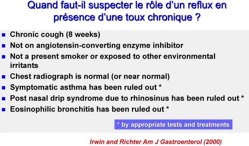 environmental irritants Chest radiograph is normal (or near normal) Symptomatic asthma has been ruled out * Post nasal