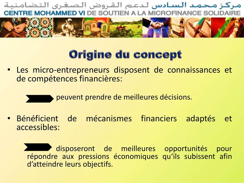 Bénéficient de mécanismes financiers adaptés et accessibles: disposeront de