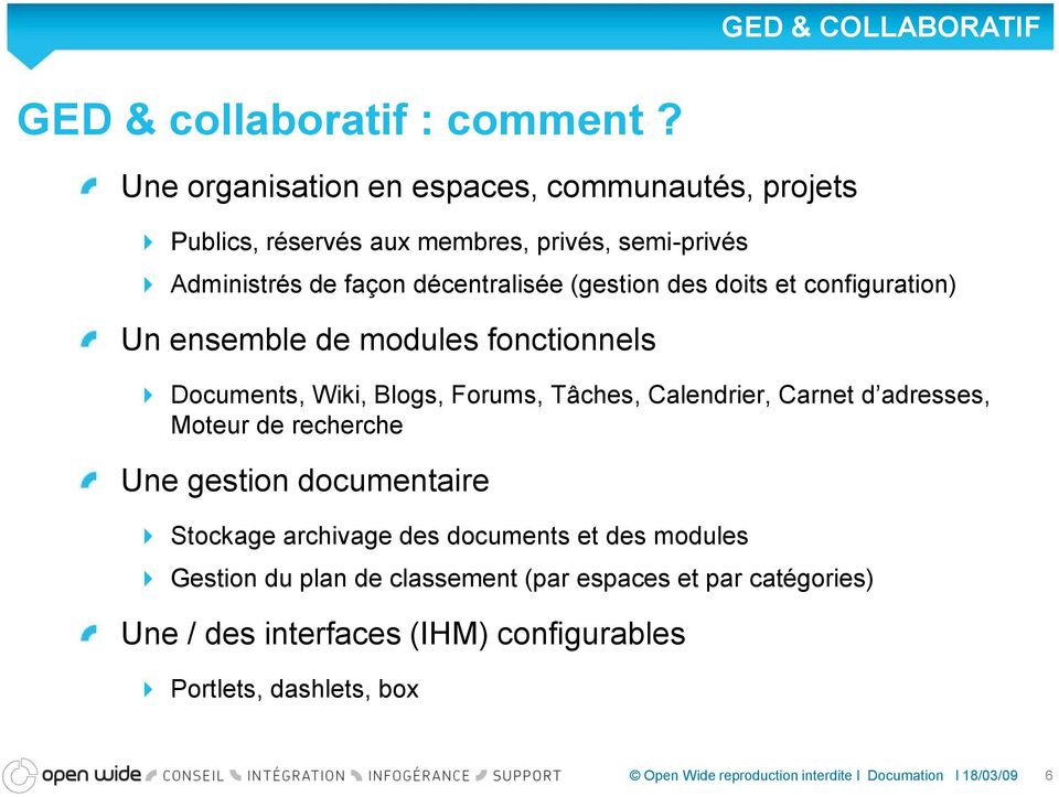 décentralisée (gestion des doits et configuration) Un ensemble de modules fonctionnels Documents, Wiki, Blogs, Forums, Tâches,