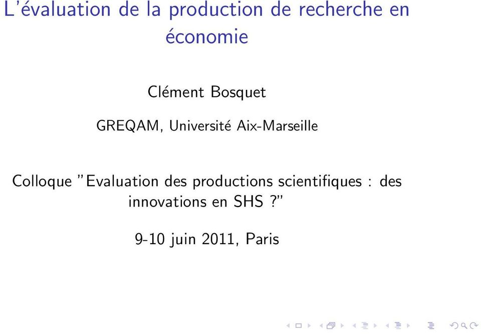 Aix-Marseille Colloque Evaluation des productions