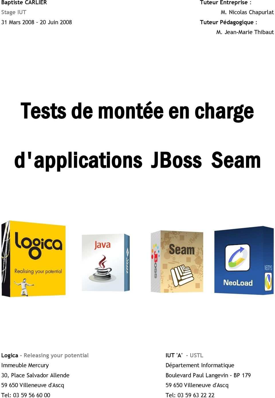Jean-Marie Thibaut Tests de montée en charge d'applications JBoss Seam Logica - Releasing your potential