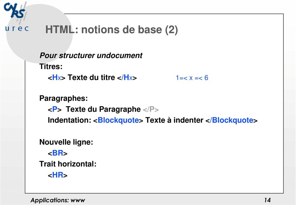 <P> Texte du Paragraphe </P> Indentation: <Blockquote>