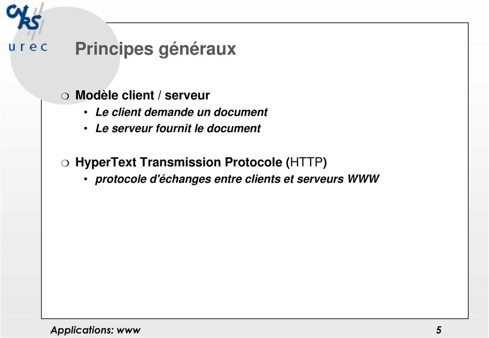 document HyperText Transmission Protocole (HTTP)