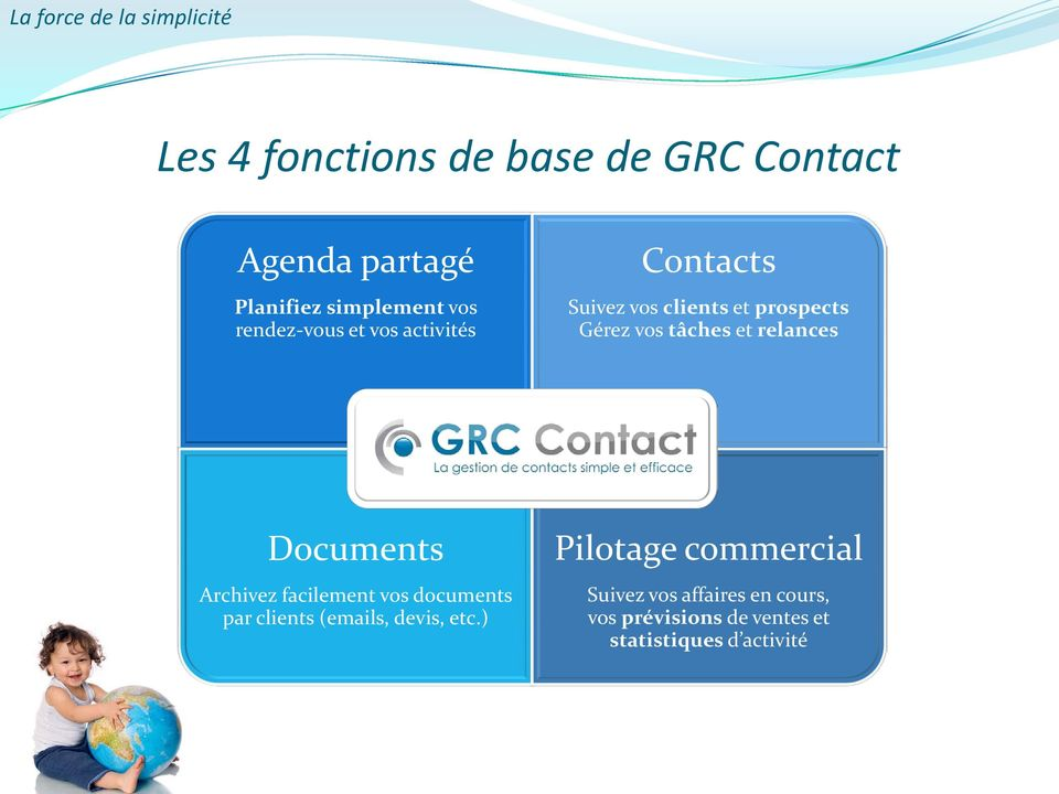 tâches et relances Documents Archivez facilement vos documents par clients (emails, devis, etc.