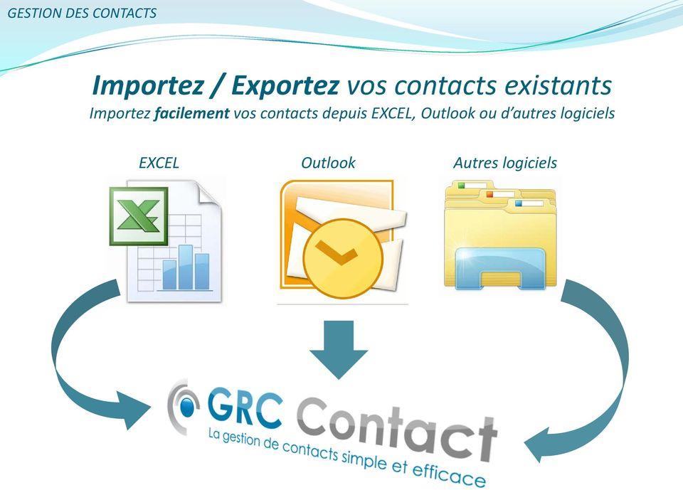 vos contacts depuis EXCEL, Outlook ou d