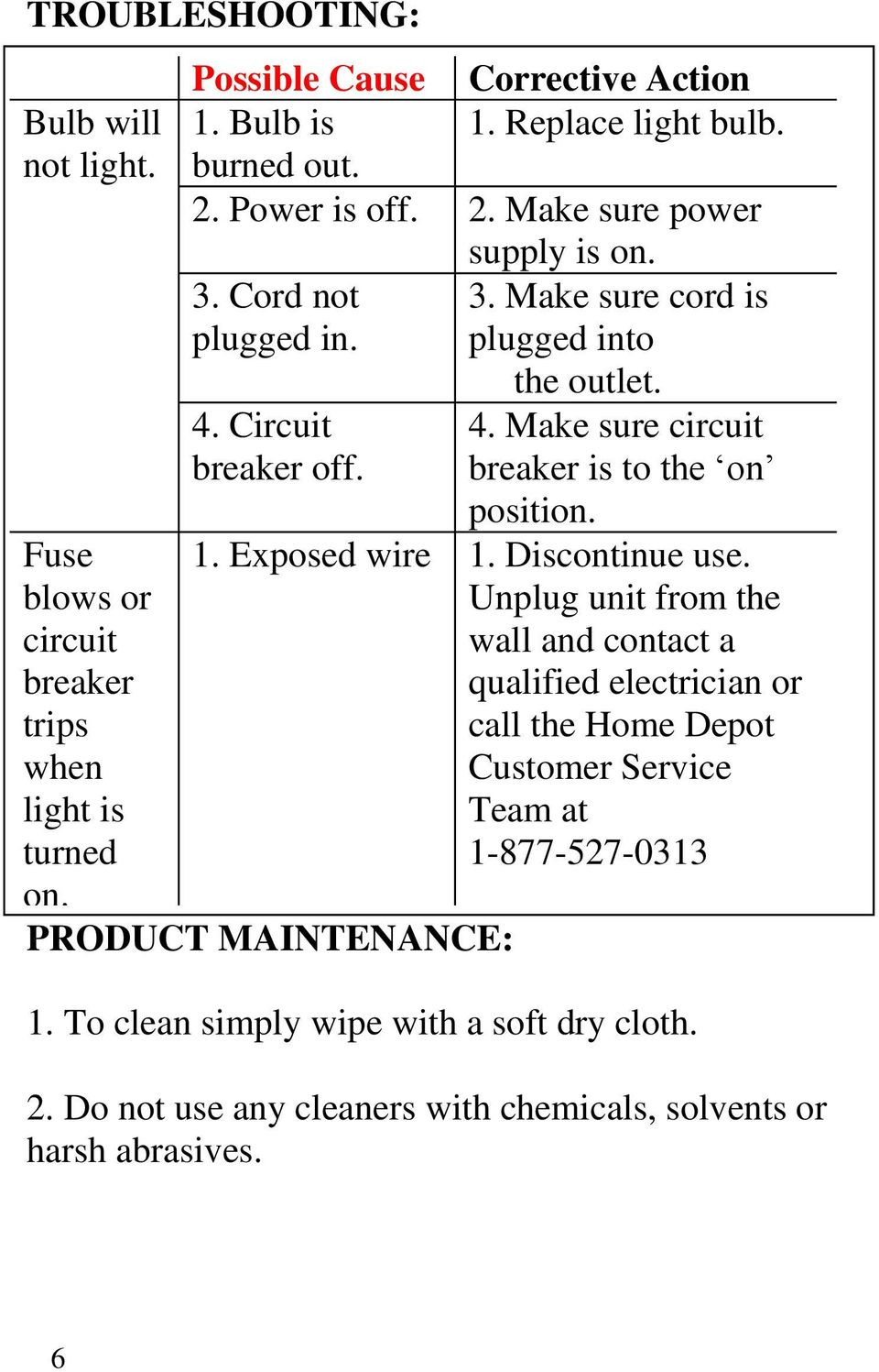 PRODUCT MAINTENANCE: the outlet. 4. Make sure circuit breaker is to the on position. 1. Exposed wire 1. Discontinue use.