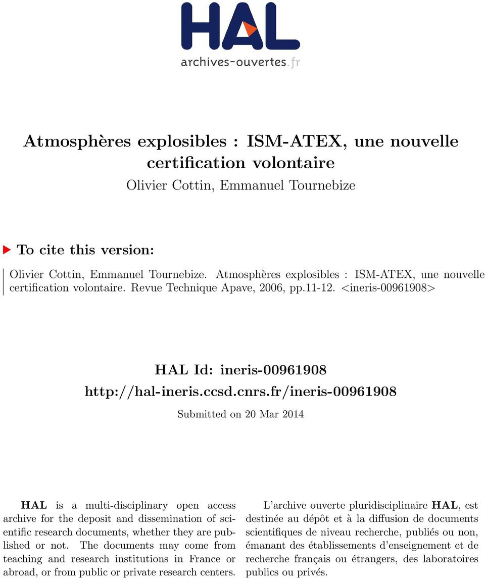 fr/ineris-00961908 Submitted on 20 Mar 2014 HAL is a multi-disciplinary open access archive for the deposit and dissemination of scientific research documents, whether they are published or not.