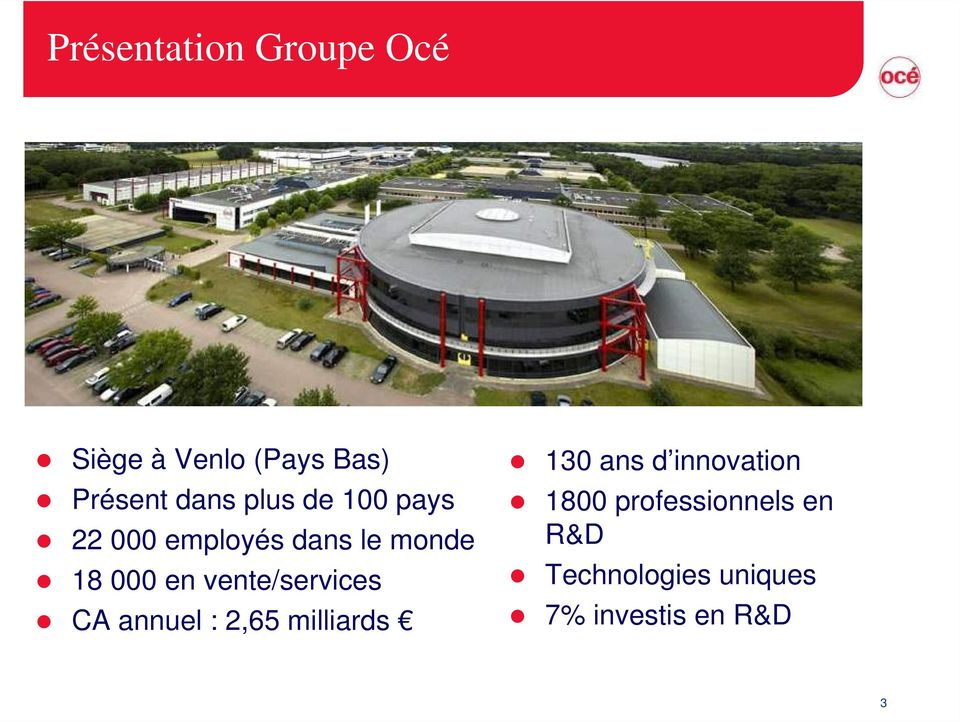 vente/services CA annuel : 2,65 milliards 130 ans d innovation