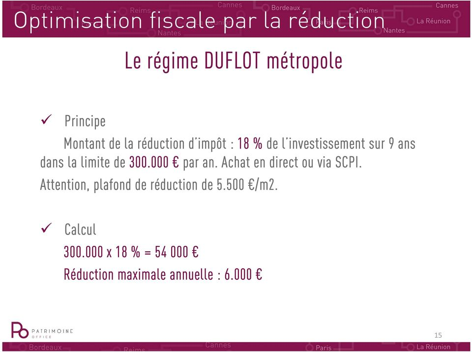 limite de 300.000 par an. Achat en direct ou via SCPI.