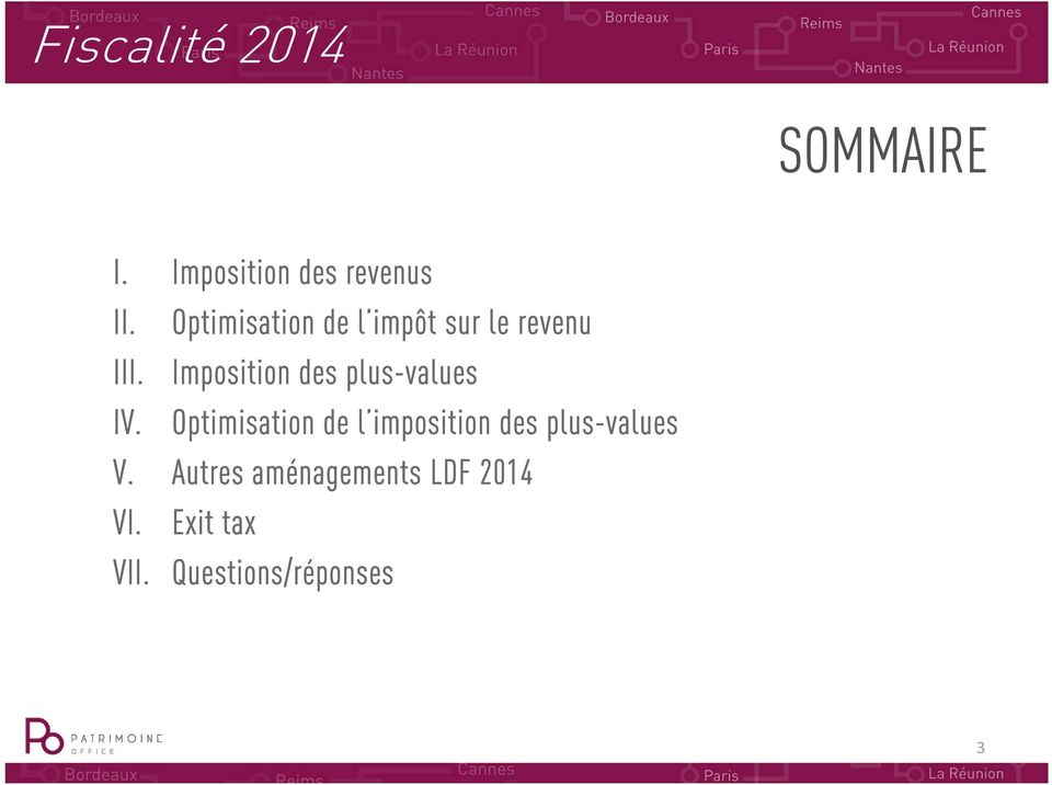 Imposition des plus-values IV.