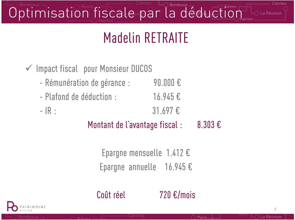 000 - Plafond de déduction : 16.945 - IR : 31.