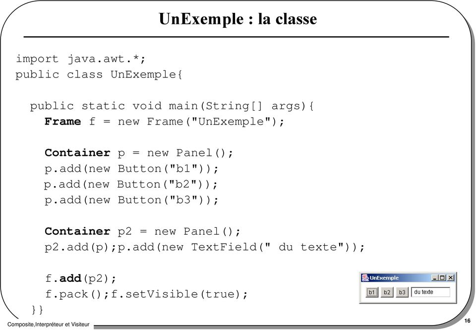 "Frame(""UnExemple""); Container p = new Panel(); p.add(new Button(""b1"")); p."