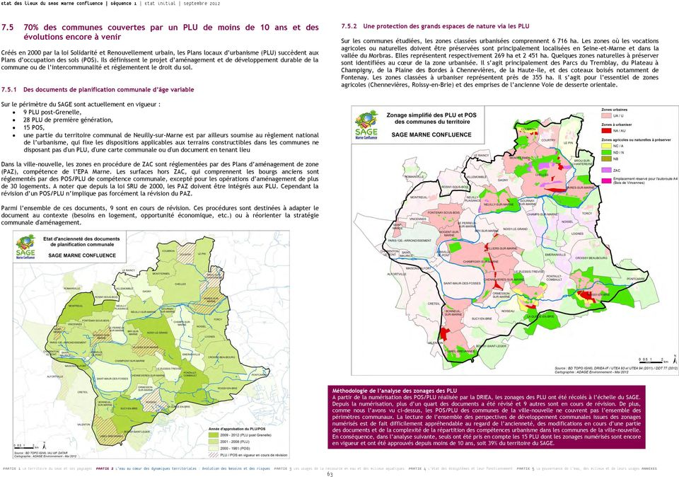 1 Des documents de planification communale d âge variable 7.5.2 Une protection des grands espaces de nature via les PLU Sur les communes étudiées, les zones classées urbanisées comprennent 6 716 ha.