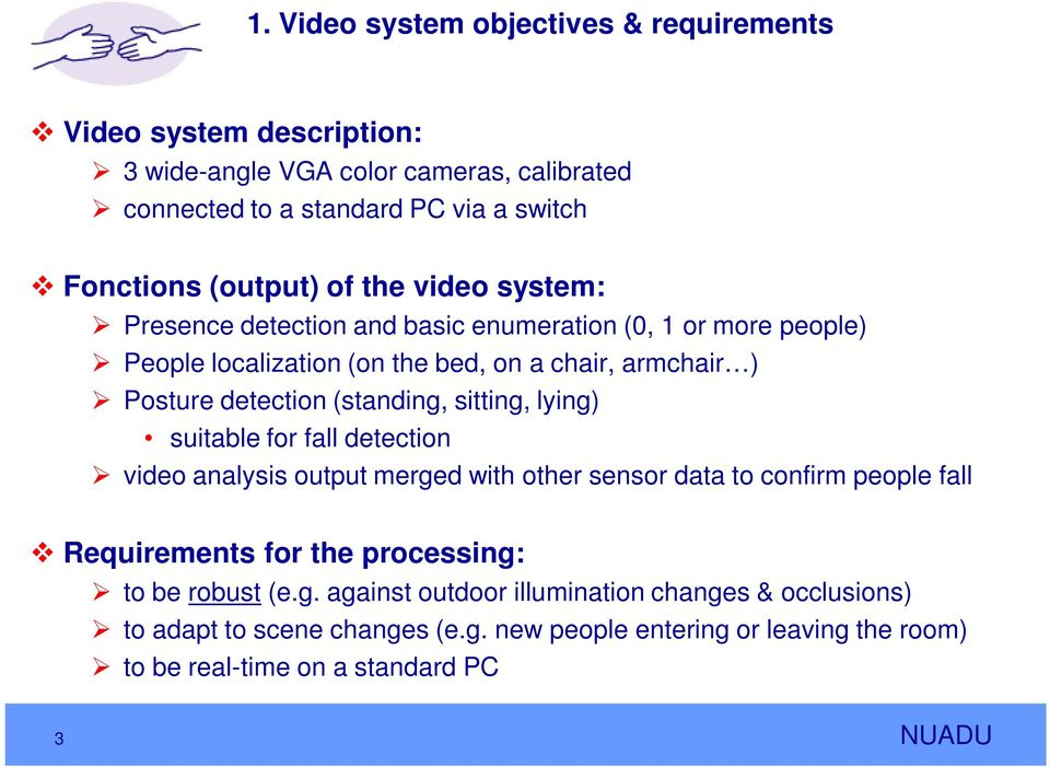 (standing, sitting, lying) suitable for fall detection video analysis output merged with other sensor data to confirm people fall Requirements for the processing: to