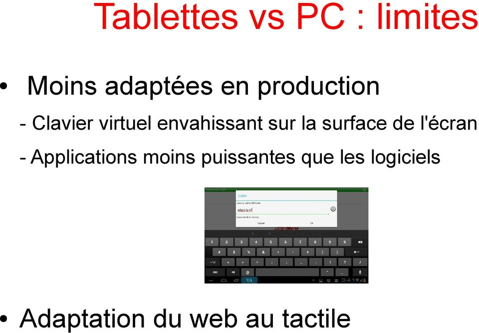 surface de l'écran - Applications moins