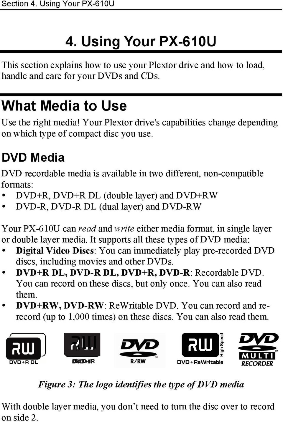 DVD Media DVD recordable media is available in two different, non-compatible formats: DVD+R, DVD+R DL (double layer) and DVD+RW DVD-R, DVD-R DL (dual layer) and DVD-RW Your PX-610U can read and write