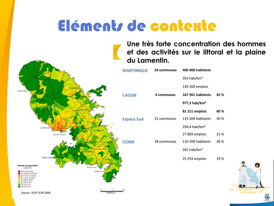 MARTINIQUE 34 communes 400 000 habitants 353 hab/km² 134 269 emplois CACEM 4 communes 167 961 habitants 42 %